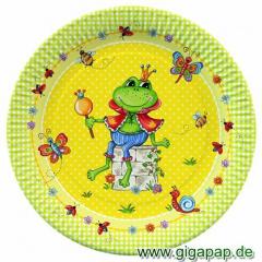 10 Teller, Pappe rund Ø 23 cm -Prince Frog- Frosch