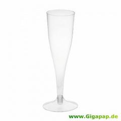 5 Stiel-Gläser für Sekt, PS 0,1 l Ø 5 cm 17,5 cm glasklar mit glasklarem Fuß