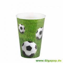 10 Trinkbecher, Pappe 0,2 l Ø 7 cm 9,7 cm -Fußball-