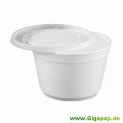 50 Suppenbecher, EPS -To Go- 400 ml Ø 12 cm 8 cm weiss mit Deckel PS transluzent
