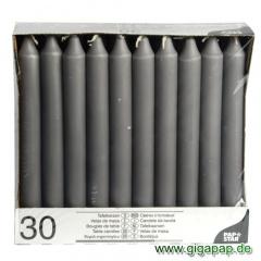 30 Tafelkerzen Ø 2,15 cm 19,6 cm grau