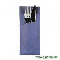 520 Bestecktaschen 20 cm x 8,5 cm blau inklusive weißer Serviette 33x33 cm