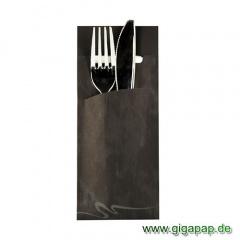 520 Bestecktaschen 20 cm x 8,5 cm schwarz inklusive weißer Serviette 33x33 cm
