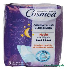 Cosmea® Comfort Plus Ultra Binden mit Geruchsschutz, Nacht mit Flügeln 9 Stück