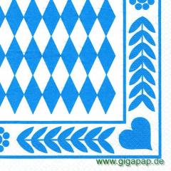 250 Servietten, 3-lagig 1/4-Falz 33 cm x 33 cm -Bayrisch Blau-