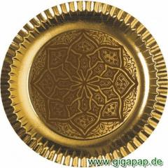 6 Teller, Pappe rund Ø 29 cm gold Ornament -Riad-