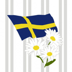 20 Servietten, 3-lagig 1/4-Falz 33 cm x 33 cm -Swedish Flag-