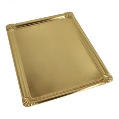 5 Servierplatten, PE-beschichtet eckig 34 cm x 45,5 cm gold