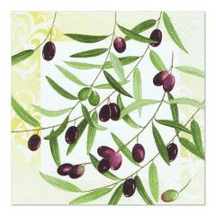 20 Servietten, 3-lagig 1/4-Falz 33 cm x 33 cm -Olive Twig-