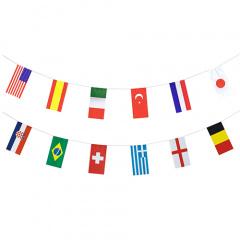 Flaggenkette, Papier 10 m -32 Nationen- schwer entflammbar