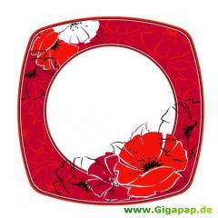 8 Teller, Pappe eckig 26 cm x 26 cm -Red Passion-