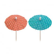 10 Deko-Picker 10 cm farbig sortiert -Eisschirmchen Dots-