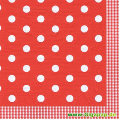 20 Servietten, 3-lagig 1/4-Falz 33 cm x 33 cm -Red Dots-