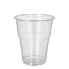 25 Kaltgetränkebecher, PLA -pure- 0,3 l Ø 9,5 cm 11 cm glasklar mit Schaumrand