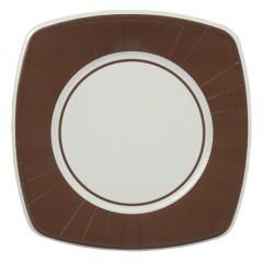 8 Teller, Pappe eckig 26 cm x 26 cm braun -Basic-