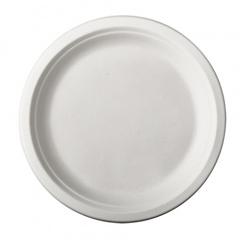 12 Teller, Zuckerrohr -pure- ungeteilt Ø 23 cm 2 cm weiss