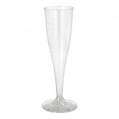 500 Einweg Sektgläser für Sekt, PS 0,1 l Ø 5 cm 17,5 cm glasklar mit glasklarem Fuß