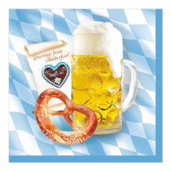 100 Servietten, 3-lagig 1/4-Falz 33 cm x 33 cm -Bavaria- Oktoberfest