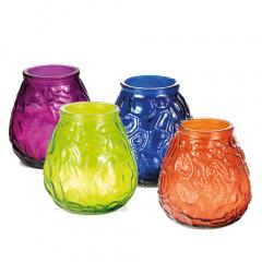 Windlichtglas farbig mit Wachsfüllung Ø 100 mm 105 mm farbig sortiert