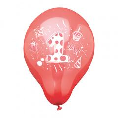 6 Zahlenluftballons Ø 25 cm farbig sortiert -1-