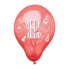 6 Zahlenluftballons Ø 25 cm farbig sortiert -2-