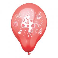 6 Zahlenluftballons Ø 25 cm farbig sortiert -4-