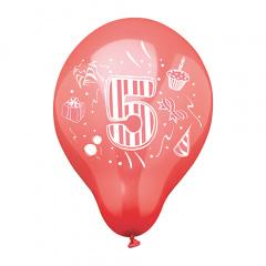 6 Zahlenluftballons Ø 25 cm farbig sortiert -5-