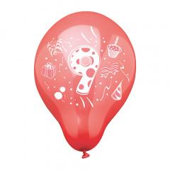 6 Zahlenluftballons Ø 25 cm farbig sortiert -9-