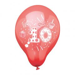 6 Zahlenluftballons Ø 25 cm farbig sortiert -10-