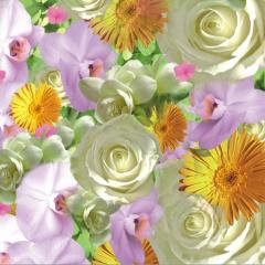 20 Servietten, 3-lagig -Design Edition- 1/4-Falz 33 cm x 33 cm -Springflowers-