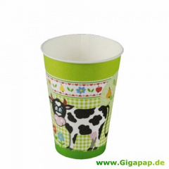10 Trinkbecher, Pappe 0,2 l Ø 7 cm 9,7 cm -Little Farm-