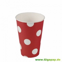 10 Trinkbecher, Pappe 0,2 l Ø 7 cm 9,7 cm rot -Dots-