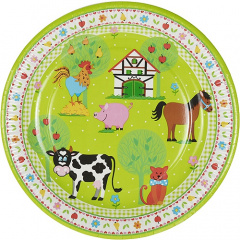 10 Teller, Pappe rund Ø 23 cm -Little Farm-