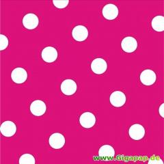 20 Servietten, 3-lagig 1/4-Falz 33 cm x 33 cm fuchsia -Dots-