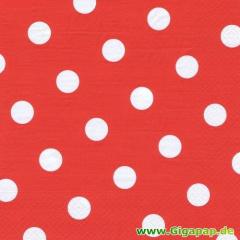 20 Servietten, 3-lagig 1/4-Falz 33 cm x 33 cm rot -Dots-