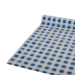 Tischdecke, Folie 50 m x 80 cm blau -Karo-