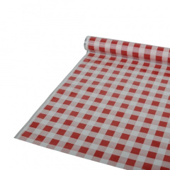 Tischdecke, Folie 50 m x 80 cm rot -Karo-