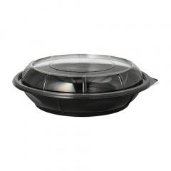 35 Salatschalen, PS 800 ml Ø 22,1 cm 6,2 cm schwarz -Snap It- mit Deckel PS glasklar