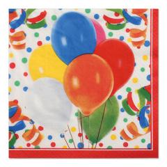 100 Servietten, 3-lagig 1/4-Falz 33 cm x 33 cm -Lucky Balloons-