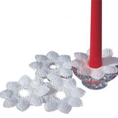 6 Kerzen-Manschetten rund Ø 10 cm weiss geprägt
