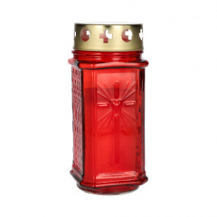 Grablaterne Ø 7,5 cm 17 cm rot aus Glas, inkl. Grablicht T3