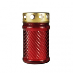 Grablaterne Ø 7,5 cm 13,5 cm rot aus Glas, inkl. Grablicht T3