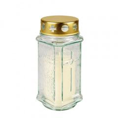 Grablaterne Ø 7,5 cm 17 cm weiss aus Glas, inkl. Grablicht T3