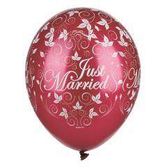 30 Luftballons Ø 29 cm bordeaux -Just Married- metallic