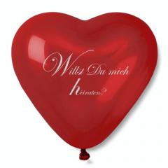 50 cm Luftballon, Maxi rot -Herz- mit Heiratsantrag + Ersatzballon