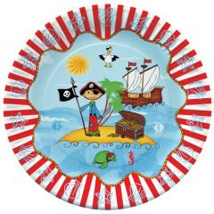 10 Teller, Pappe rund Ø 23 cm -Pirate Island-Piraten