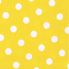 20 Servietten, 3-lagig 1/4-Falz 40 cm x 40 cm gelb -Dots-
