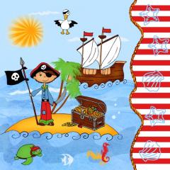 20 Servietten, 3-lagig 1/4-Falz 33 cm x 33 cm -Pirate Island-
