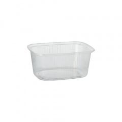 100 Verpackungsbecher, PP eckig 250 ml 4,9 cm x 8,1 cm x 10,8 cm transparent