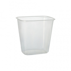 100 Verpackungsbecher, PP eckig 500 ml 10,1 cm x 8,1 cm x 10,8 cm transparent